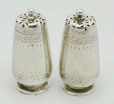 Beautiful Pair Victorian Solid Sterling Silver Pepperettes Hm 1879 Henry Holland