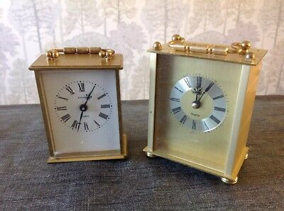 Vintage Carriage Clocks Solid Brass Case  Quartz Carriage Repair Or Spare Parts