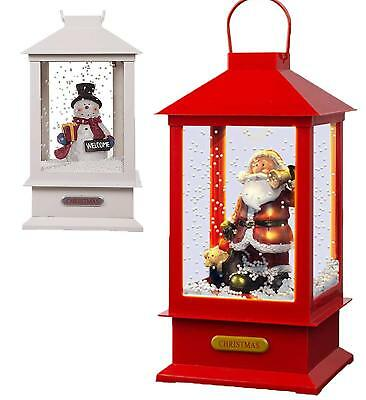 8 Songs Christmas Lantern Santa Claus Xmas Snowman with Music Light and Snow