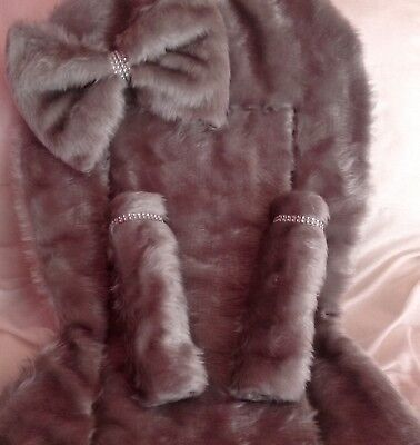 Silver Grey  Fur Pram Liner,bow Straps With Diamante Bling
