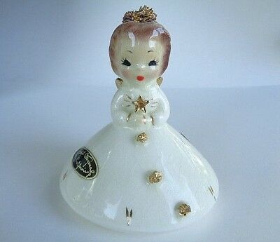 Vintage Josef Originals Miniature Christmas December Angel Gold and White
