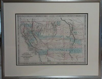 Professionally Framed 1866 Hand-Colored Lithographed Map S.W States by A Johnson