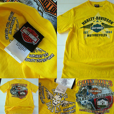 Harley Davidson Yellow T Shirt Men M San Antonio Texas Cowboys Alamo