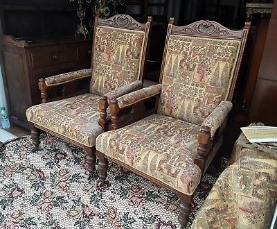 Pair Late Victorian Oak Armchairs Fireside Chairs Circa 1900