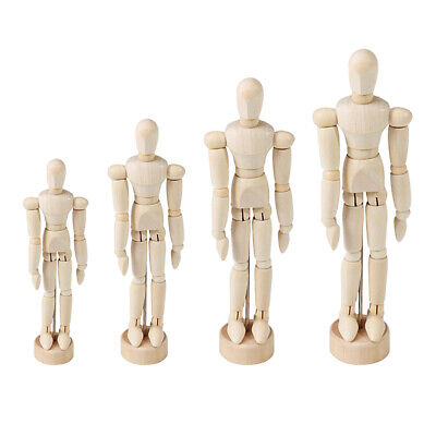 4 Pcs Wooden Figure Manikin Doll Articulated Mannequin With Base Mixed Sized