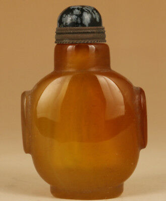 Valuable chinese old Natural Jade Hand Carved Snuff Bottle
