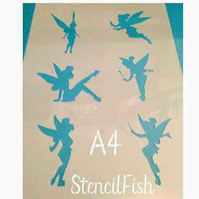 Tinkerbell fairy Stencil Cake Cookie Paint Craft Fabric Airbrush silhouettes