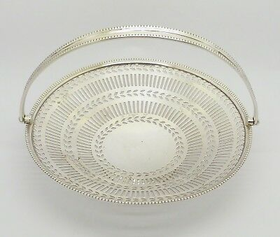 ELEGANT SOLID SILVER BASKET DISH ON SWING HANDLE HM 1915 GOOD CONDITION 130g