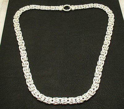 """18"""" All Shiny Polished Byzantine Necklace Chain Real 925 Sterling Silver"""