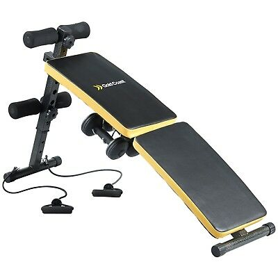 Gold Coast Ab Sit Up Bench | Comes with 2x 1.5kg Dumbbells and Resistance Bands