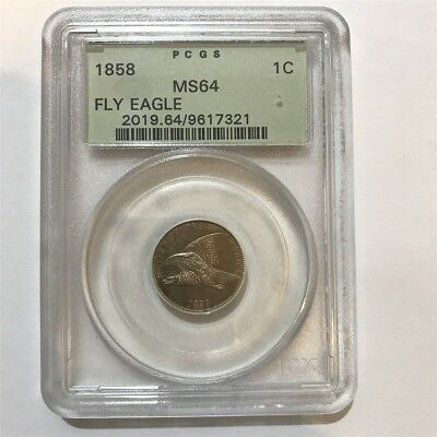 1858 Flying Eagle Cent 1C Coin PCGS MS64 Green Label Large Letters