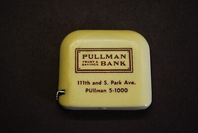 "Vintage The Vernon Co. 72"" Metal Tape Measure...PULLMAN BANK TRUST AND SAVINGS"