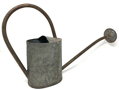 Vintage Watering Can Galvanized Steel With Spout - 64 Ounces (1/2 Gallon)