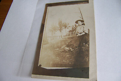 Rare Antique Vintage RPPC Real Photo Postcard Female in Dress Round Hat Lady
