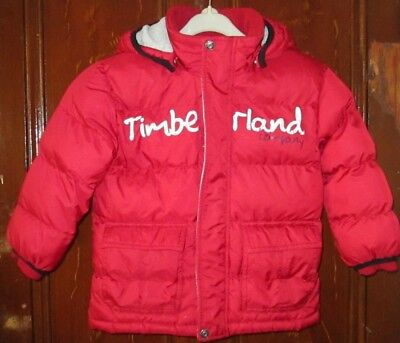 Timberland Boy,s Red Padded Jacket With Detachable Hood - Age 3 - Used