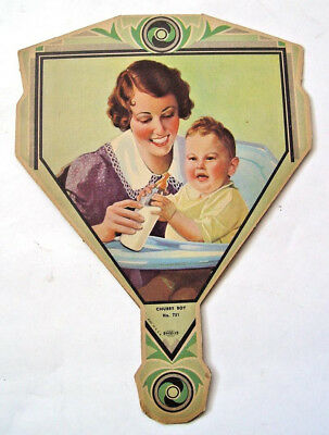 HEARTFELT SMILING 1920-30s MOM & CHUBBY BOY BABY CHICAGO ADVERTISING SIGN FAN