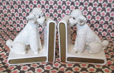 Pair Of Adorable LEFTON 1950's  French Poodle Bookends VGC