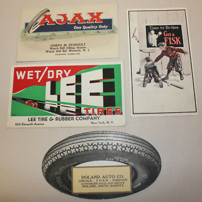 Vintage Ink Blotters, Postcard, Firestone, Ajax, Lee Tires. Service Stations