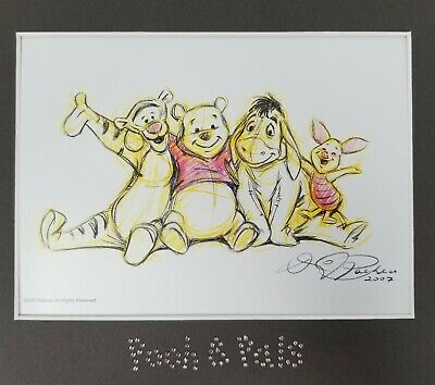 Disney Swarovski Winnie the Pooh & Pals Matted Lithograph Print By Dave Pacheco