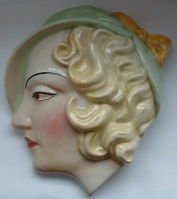 Genuine Original Art Deco Lady Wall Mask By Cope & Co Number 20