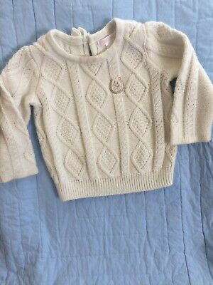 Janie And Jack Girls 12-18 Months White Knit Sweater With Bow