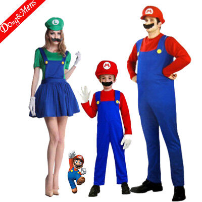 Super Mario Bros Adult Cosplay Clothing Suit Fancy Dress Party Props Set Kids