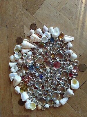 Large collection/joblot of shells and glass beads Various types and colours