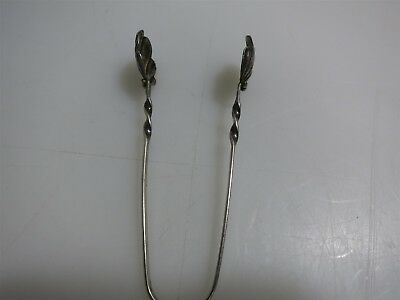 Antique Sterling Silver Sugar Tongs w/Shell and Bead Design / Twist Handle 9.1g