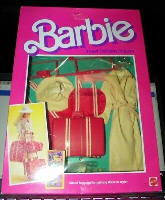 1984 Barbie Travel Fashion Playset Luggage Bag Coat Hat Heels 9264 NOS New