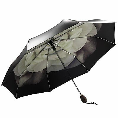 Auto Open Close Folding Rain Compact Umbrella Windproof Flowers Gardenia Black