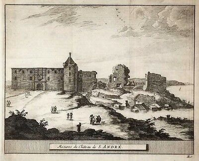 1707 Antique Engraved Print SCOTLAND Pieter van der Aa ST ANDREWS Castle Fife