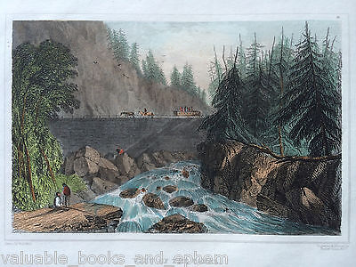 1831 Antique Engraved Print Canal at Little Falls Mohawk Hudson River New York