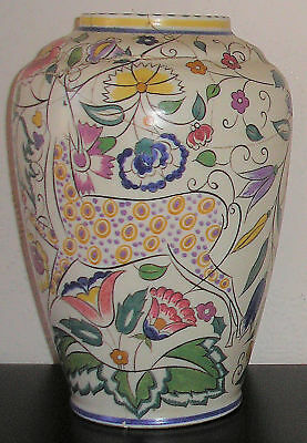 """Large Poole Pottery 10"""" Vase Painted By Eileen Prangrell 1924 - 1937 A/F"""