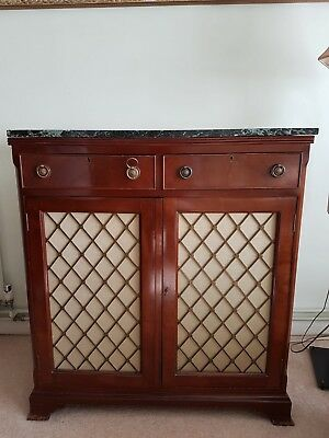 Antique Solid Wood Side Board With Marble Top