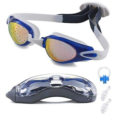 Swim Goggles UV Protection Swimming Goggles with Ear Plugs Nose Clip Adult Youth