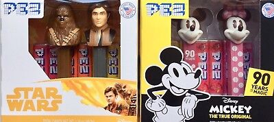 PEZ 2 New 2018 Twin Packs Mickey 90 Years of Magic & Star Wars Han Solo IN-HAND