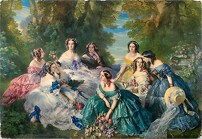 art postcard Empress EUGENIE surrounded by her Ladies of Honour by Winterhalter