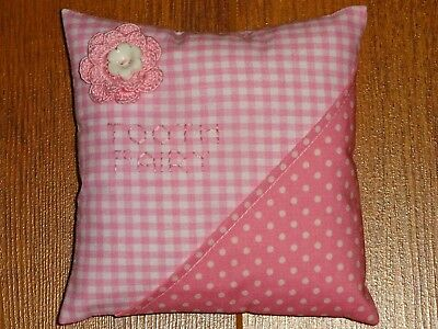 Handmade Tooth Fairy Pillow ~ Pink Gingham & Polka Dot With Crocheted Flower
