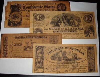 Vintage Copy Reproduction Confederate Paper Money Currency