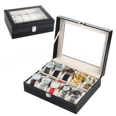 6 10 12 20 24 Slot Leather Watch Box Display Glass Top Jewelry Case Organizer BE