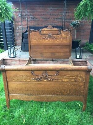 Lovely tiger oak antique bed circa 1900 full size beautiful detail