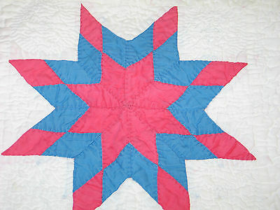 Charming Antique VTG Hand Pieced~Densley Quilted Pillow Cover-Doll Quilt-STAR