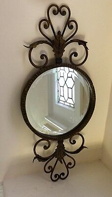 Vintage French Country Art Nouveau Deco Style Gold Iron Metal Wall Mirror