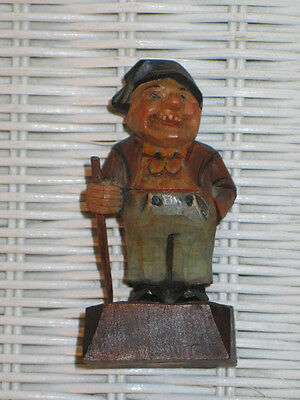 "Antique VTG German Black Forest Carved/Painted Bavarian Wood ""Gnome"" Miniature"