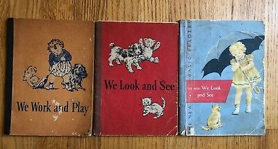 Lot 3 Vintage Dick and Jane Books We Look and See New We Work and Play Softcover