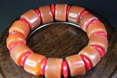 Handwork Exquisite China Agate Inlay Red Beads Natural Texture Elegant Bracelet