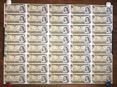 1973 Uncut Sheet Of 40 Canada $1 Dollar Bills 5 X 8 Format ...Suitable to Frame