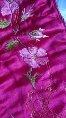 EXQUISITE ANTIQUE FRENCH HAND EMBROIDERED SILK PANEL RUNNER c1880