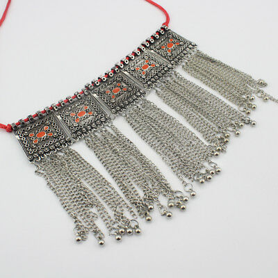 Vintage Ethnic Antique Oxidized Silver Tribal Trendy Tassel Necklace S29490