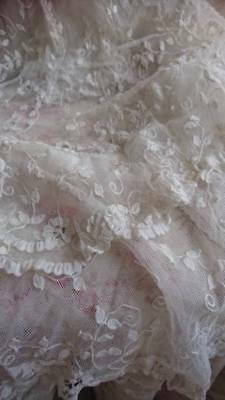 EXQUISITE ANTIQUE FRENCH TULLE LACE WEDDING SKIRT with TRAIN c1850